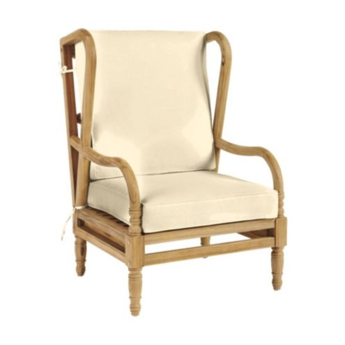 Ceylon Box Edge Wingback Chair Cushion Canvas Spa