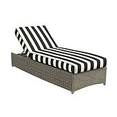 Suzanne Kasler Versaille Box Edge Chaise Cushion - Canopy Stripe Black/White Sunbrella
