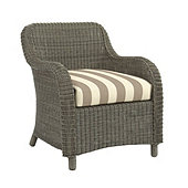 Suzanne Kasler Versaille Box Edge Dining Chair Cushion - Canopy Stripe Taupe/Sand Sunbrella