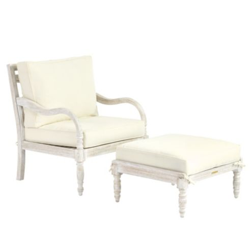 Ceylon Whitewash Lounge Chair & Ottoman 3-Piece Replacement