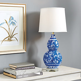 Blue U0026 White Double Gourd Chinoiserie Table Lamp
