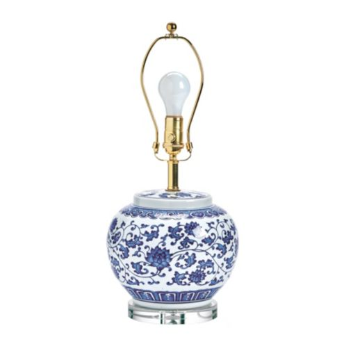 Blue & White Single Round Chinoiserie Table Lamp