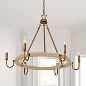 Savannah Jute Wrapped 6-Light Chandelier