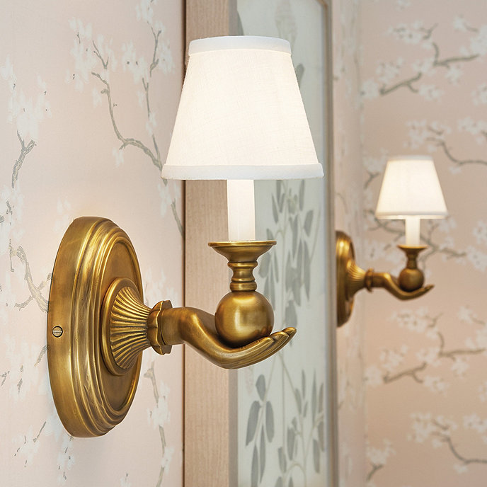 Edwin Hand Wall Sconce With Linen Lamp