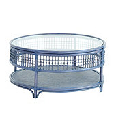 Beverly Rattan Coffee Table - Blue