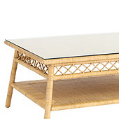 Suzanne Kasler Southport Rattan Coffee Table Glass Topper