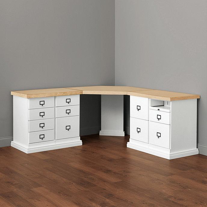 Original Home Office™ Corner Desk With Two 2 Cabinet Credenzas With Wood  Top | Ballard Designs | Ballard Designs