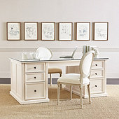Tuscan Double Pedestal Desk with Glass Topper