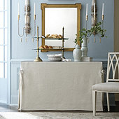 Linen Tie Skirted Console Table Trio