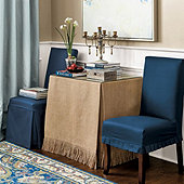Essential Rectangular Skirted Side Table
