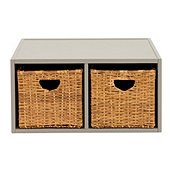 Abbeville Divided Shelf with Rattan Baskets