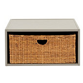 Abbeville Open Shelf with Rattan Basket