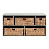 Abbeville Large 5-Compartment Stacking Cabinet with Hyacinth Baskets