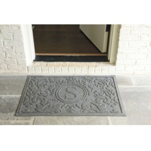 Damask Doormat Personalized Gray