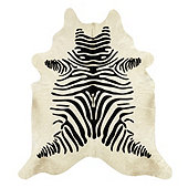 Natural Cowhide Rug - Stenciled Black and White Zebra