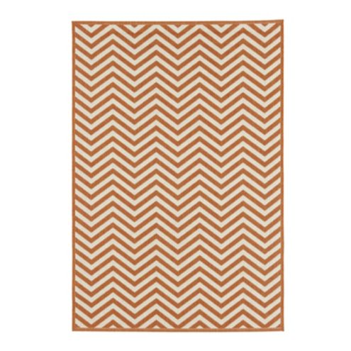 Chevron Stripe Indoor/Outdoor Rug - Black/Sand