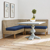 Rosalind 3-Piece Wicker Banquette Set with Seat Cushions - 48