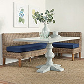 Rosalind 3-Piece Wicker Banquette Set with Seat Cushions - 30
