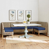 Rosalind 5-Piece Wicker Banquette Set with Seat Cushions - 19