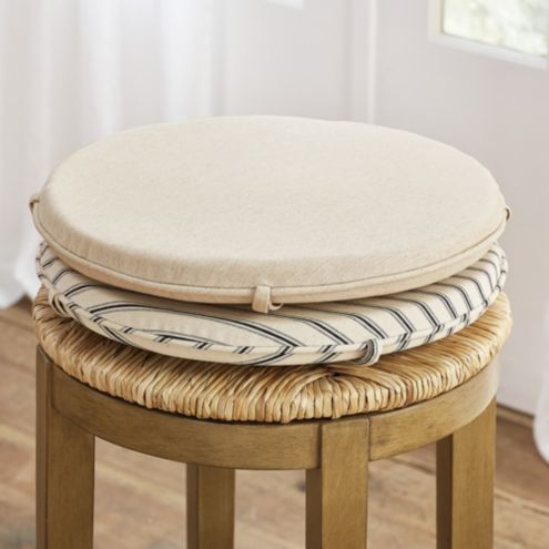 Marguerite Backless Stool Linen Seat Cushion