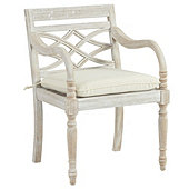 Ceylon Whitewash Dining Armchair with Cushion