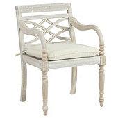 Ceylon Whitewash Dining Armchair with Cushion