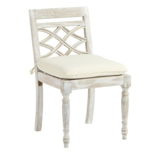 Ceylon Whitewash Dining Side Chair with Cushion
