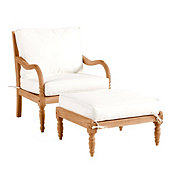 Ceylon Teak Lounge Chair & Ottoman with Cushions