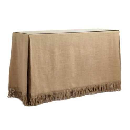 Fringed Burlap Skirted Console Table