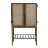 Astrid Bar Cabinet - Gray Stain with Graywash Cane