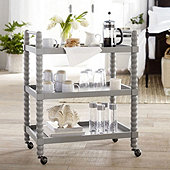 Thora Spool Bar Cart - Warm Gray