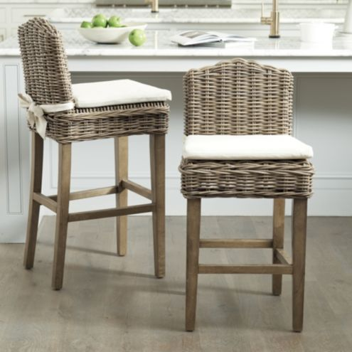 Rosalind Washed Gray Wicker Bar Stool
