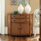 Newport Demilune Table with Doors - Distressed Light Ash