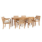 Ceylon Teak 7-Piece Rectangular Dining Set with Cushions