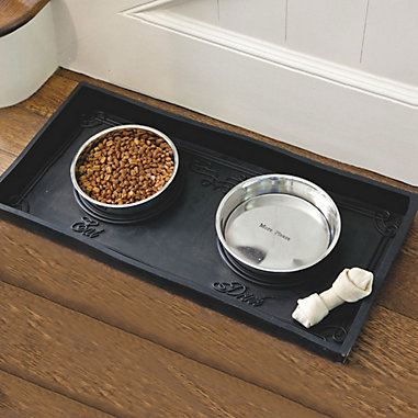 Rubber Pet Food Tray with Bowls