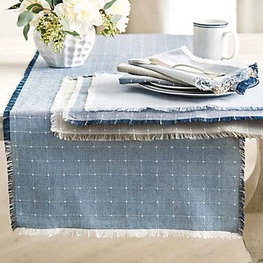 Carmel Fringed Windowpane Table Linens