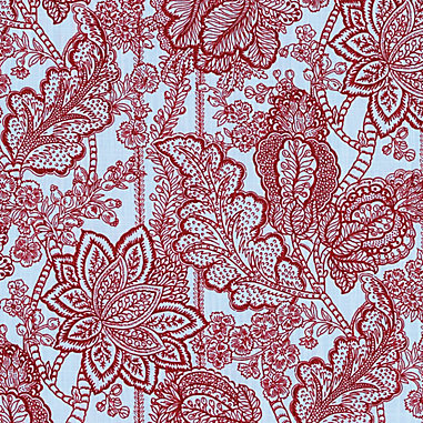 Avie Red/Blue Fabric by the Yard
