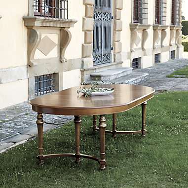 Image of Casa Florentina Farnese Extension Dining Table - Antique Walnut Stocked