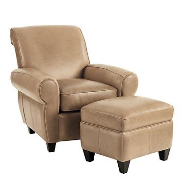 Paris Leather Chair Ottoman