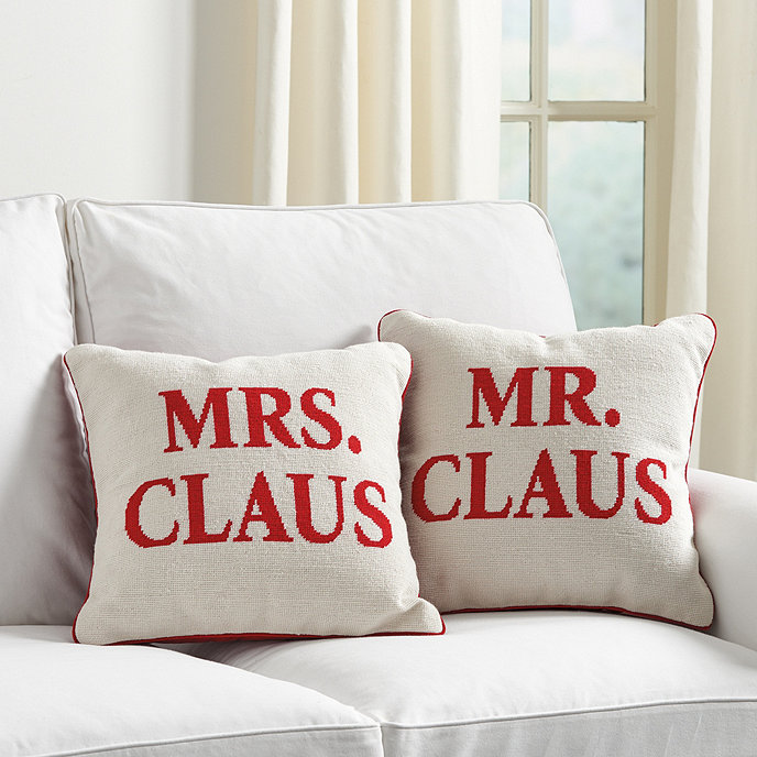 Mr Mrs Claus Needlepoint Pillow Cover