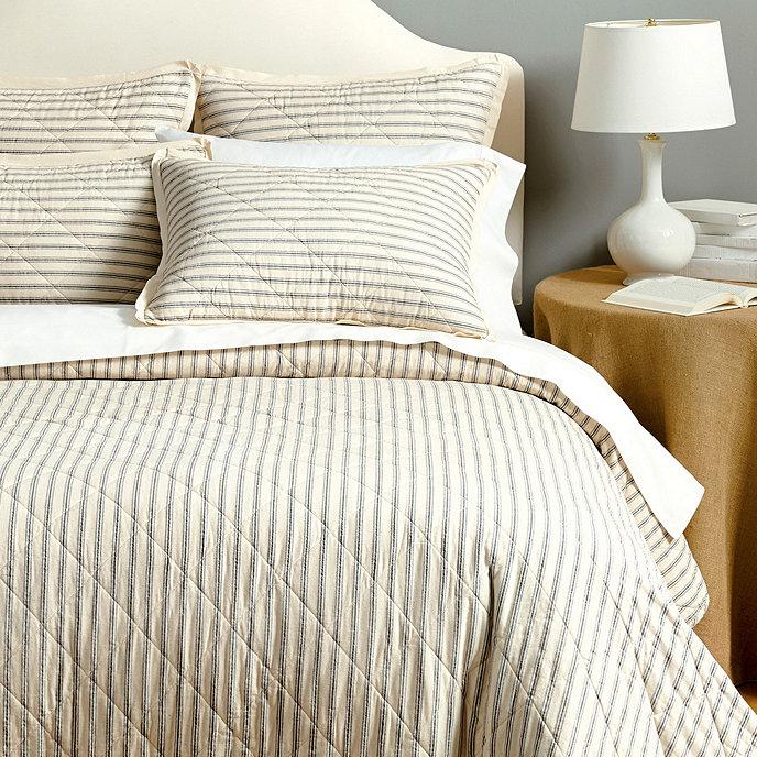 Ticking Stripe Quilted Bedding Ballard Designs