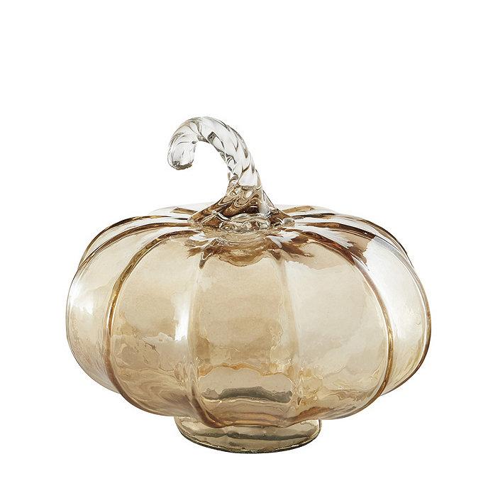 blown glass pumpkin halloween decor