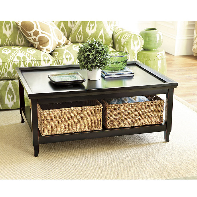 Morgan Cocktail Table With Woven Basket Ballard Designs - Coffee table stores near me