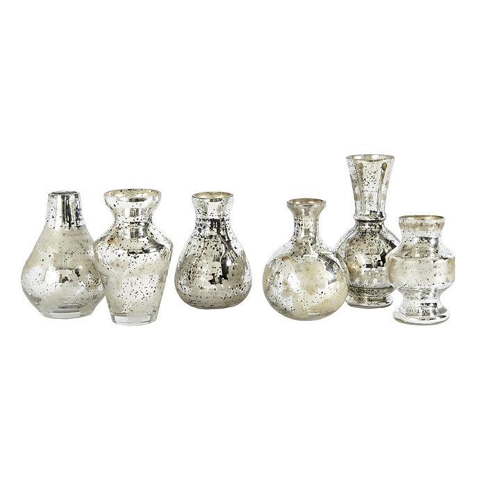 Loblaws Christmas Decorations: Set Of 6 Mercury Bud Vases