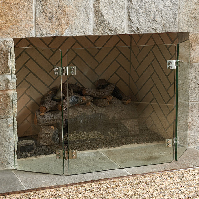Miles Redd Glass Deco Fireplace Screen Ballard Designs