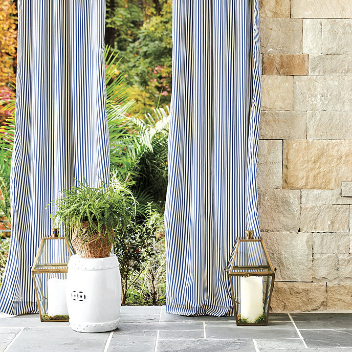 Robins Stripe Outdoor Curtain Panel decor in home interior
