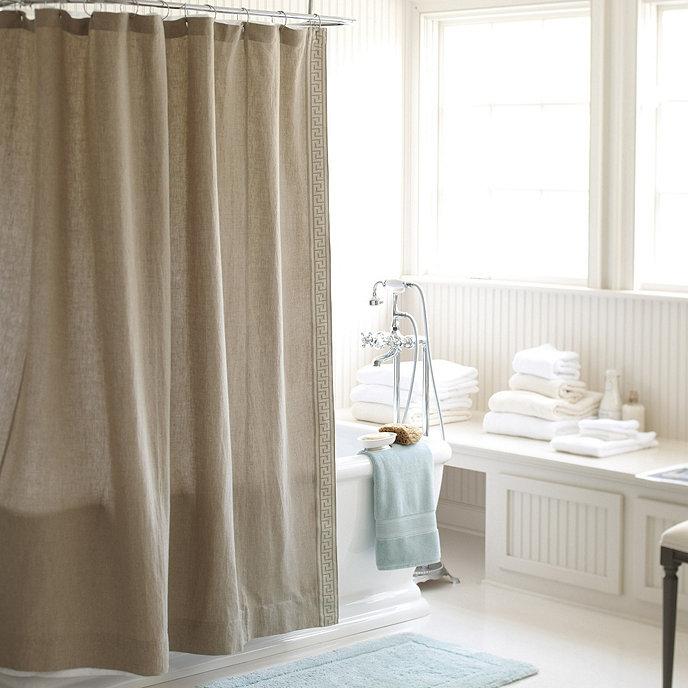 Olympia Greek Key Shower Curtain Natural Ballard Designs