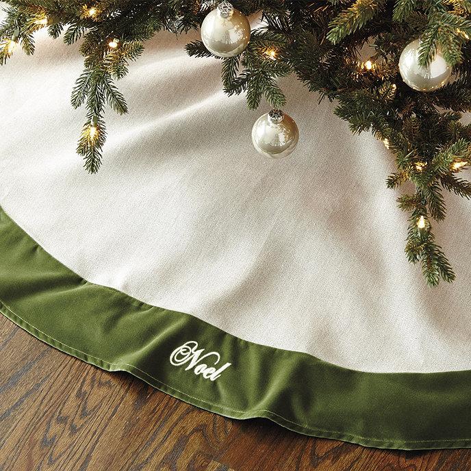 Linen Christmas Tree Skirt: Suzanne Kasler Linen And Velvet Tree Skirt
