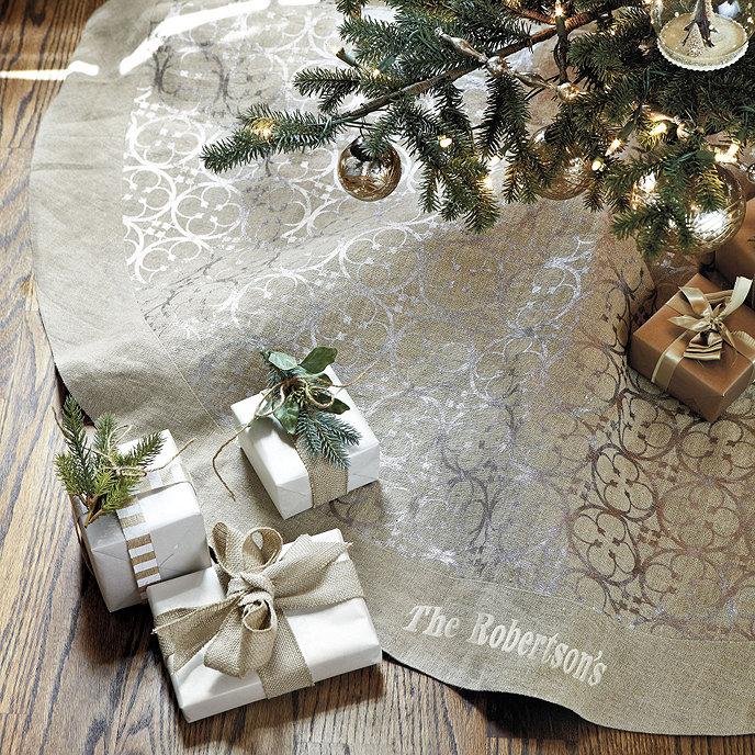 Linen Christmas Tree Skirt: Quaterfoil Linen Tree Skirt