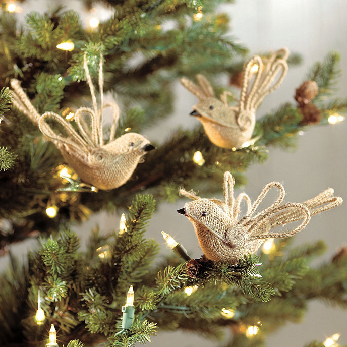 Burlap Bird Ornaments - Set of 6 - Burlap Ornaments Christmas Bird Ornament Ballard Designs